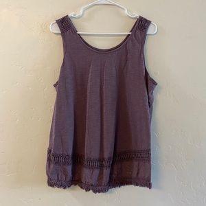 Sonoma Purple Crochet Lace & Fringe Trim Tank Top